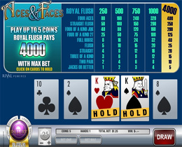 Screenshot of a standard Aces and Faces (Rival) Video Poker Game.