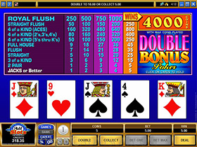 A Screenshot of a Microgaming Double Bonus Video Poker Game