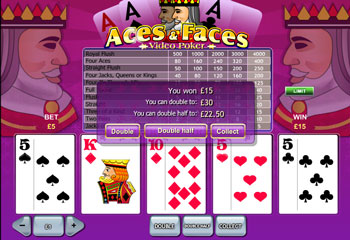 Playtech's Aces And Faces Poker Screenshot